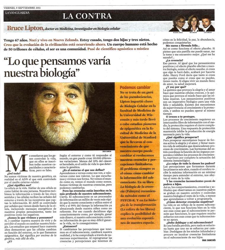 PSYCH-K barcelona Bruce Lipton La Vanguardia