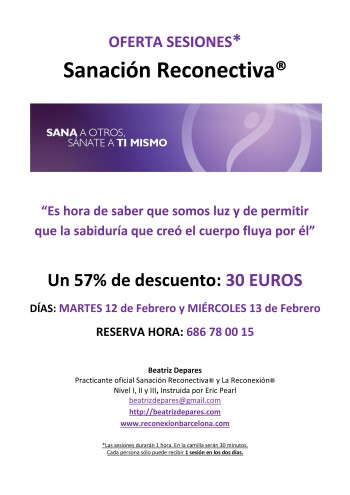 Oferta SANACION RECONECTIVA FEBRERO 2013